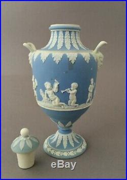 Antique Wedgwood White On Pale Blue Dip Jasper Twin Rams Handle Cherub Vase