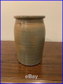 Antique West Virginia A. P. Donaghho Stencil Stoneware Pottery Salt Glaze Crock