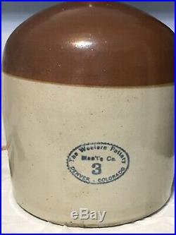 Antique Western Pottery Co Of Denver Stoneware Crock Jug RARE Original Spout