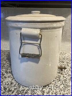 Antique Western Stoneware Co Pottery Crock Lemonade Drink With Lid 6 Gallon