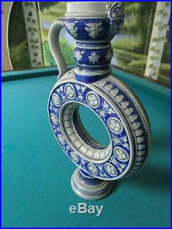 Antique Westerwald German ROUND RING JUG stoneware blue grey salt glazed PICK 1