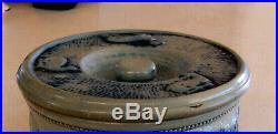 Antique Whites Utica Stoneware Pottery Crock #1 with Lid Deer Hunt Scene