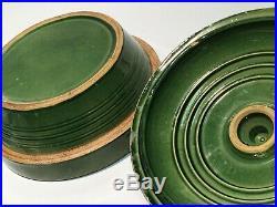 Antique Yellow Ware Bowl w Scarce Matching Lid Ransbottom McCoy Watt Era Pottery