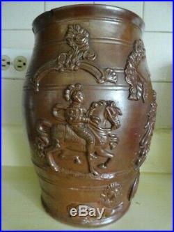 Antique england stoneware 19th century salt glaze wine barrel jug pottery royal