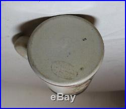 Antique hand painted German pottery stoneware pewter lidded beer stein mug