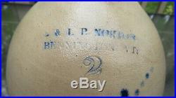 BEAUTIFUL ANTIQUE E. & L. P. NORTON STONEWARE JUG With ELABORATE FLORAL BOUQUET