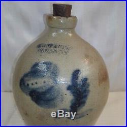 Blue Cobalt Rare 1860-1890s I H Wands Olean NY Stoneware Pottery Crock Jug