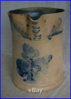 Blue Decorated Stoneware 1/2 Gal. PITCHER Pennsylvania VERY UNUSUAL SHAPE