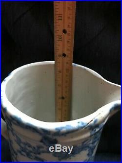 Blue Spongeware Spatterware Stoneware Pitcher Antique