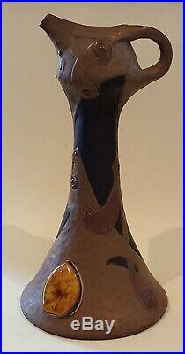 Bretby vintage Art Nouveau antique bronze glaze ewer jug vase with Ruskin stones