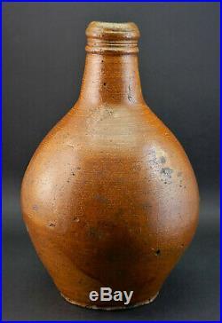 C1720, ANTIQUE 18thC GERMAN STONEWARE SALT GLAZED BELLARMINE POTTERY BOTTLE JUG