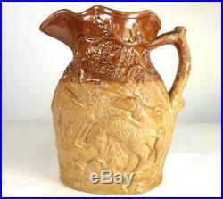 C1845 Antique Doulton & Watts Lambeth Pottery Stoneware Hunting Pitcher Jug