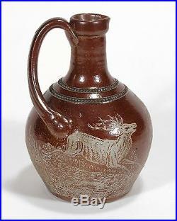 Charles Graham stoneware pottery rare salt glazed acid etched hunting scene jug