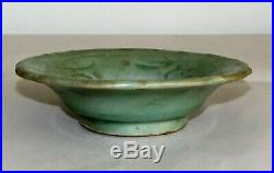 Chinese Ming Pottery Dish Longquan Celadon Stoneware Floral c. 14th-17thC / 5.5