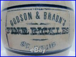 DODSON & BRAUN'S FINE PICKLES ST LOUIS Old Advertising Stoneware Pottery Crock