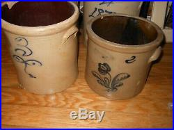Dated 1870 Antique Stoneware Crock Pottery Primitive Folk Art Cobalt Blue