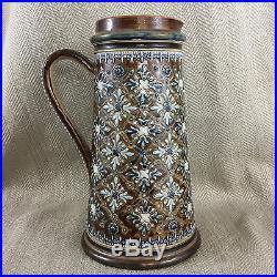 Doulton Lambeth Jug Antique Stoneware Pottery Original Victorian Gothic Revival