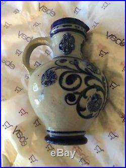 EXC COND Antique German Westerwald Salt-Glazed Stoneware Pitcher 10T