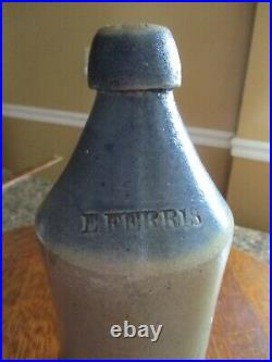 EZRA FERRIS Antique Stoneware Beer Bottle Cobalt Blue Shoulder & Top c. 1860s