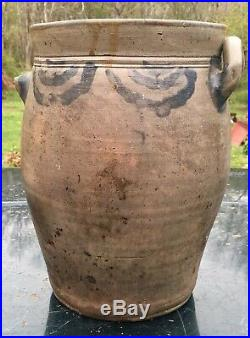 Early 1800's Ovoid Brushed Cobalt Stoneware Jar attr. Crolius Family Pottery