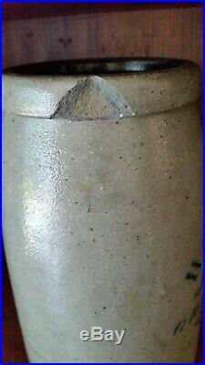Early Antique Stenciled Hamilton & Jones Stoneware Crock Jar. Aafa