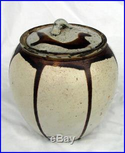 Edo Tamba Rare White Pottery Stoneware Jar & LID