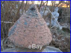 Evans Pottery Dexter, Mo. Beautiful Textured Domed Birdhouse Old Blue Paint