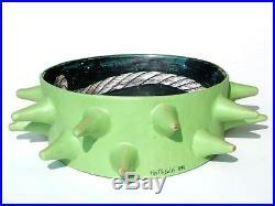 FAUSTO SALVI spikes ceramic sculpture italy 90s green pottery
