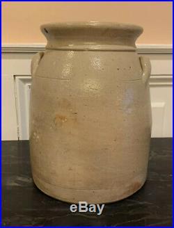 F. Laufersweiler Empire City Pottery 2 Gallon Stoneware Salt Crock New York NY