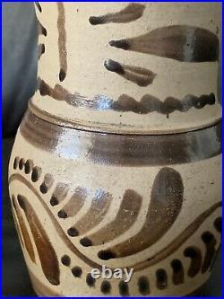 Fine Antique 19th C. Penna. Tanware Stoneware Pitcher, New Geneva, PA. AAFA