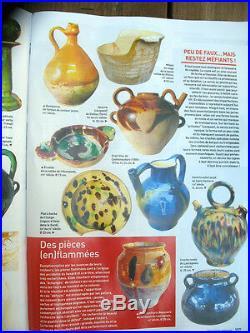 French Antique Stoneware Redware Pottery Yellow Ceramic Confit Glaze Pot Pitcher