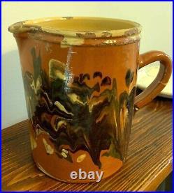 French Stoneware Pot Antique Pottery Jaspe Confit Ironstone Pitcher Free Shippi