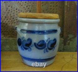 German Westerwald Salt Glaze Pottery Stoneware Butter Churn Blue Table Top Size