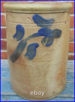 Good 19th Cen Stoneware Jar With Cobalt Floral Decoration