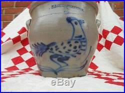Great Antique American 2 Gal. Tapering Stoneware Jar, Cobalt Peafowl Decoration
