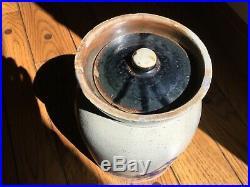 HTF Antique One Gallon NY Bird Decorated Stoneware Crock Jar Whites, NICE