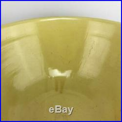 HUGE 15.5 USA Antique Yellow Ware Stoneware Pottery Brown Banded Mixing Bowl