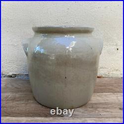 Handmade Glazed Grey Beige Antique French Confit Pot Medium Stoneware 3001213