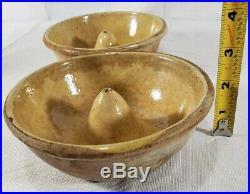 Handmade Yellow Stoneware Antique Pudding Molds (2)