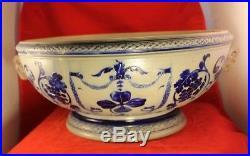 Huge 16 Diameter Antique Punch Bowl or Basin German Stoneware Salt Glaze