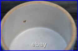 Hull Antique Blue White Salt Glaze Daisy Floral Grease Jar Canister BUTTER CROCK