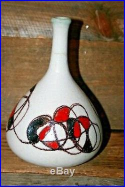Italian Art Pottery Vase GUIDO GAMBONE Stoneware 1950s Signed Donkey Mark MCM