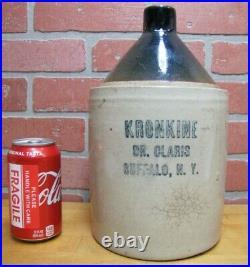 KRONKINE DR CLARIS BUFFALO NY Antique Stoneware Pottery Jug Veterinary Medicine