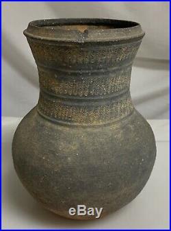 Korean Silla Dynasty Pottery Stoneware 9.5 Incised Jar 59816