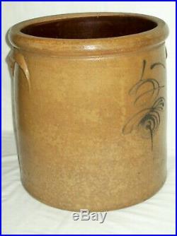 L@@K Antique 5 Gallon Bee Sting Stoneware Crock Nice Early Salt Glaze Pottery