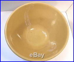 Large Antique 15 Inch Yellow Ware Pottery Mixing Bowl White Stripe Footed
