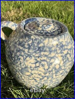 Large Primitive Blue & White Spongeware Stoneware Bean Pot Handled Uhl Jar WithLid