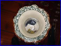 Large Rare Antique Blue Spongeware Spatterware Umbrella Stand