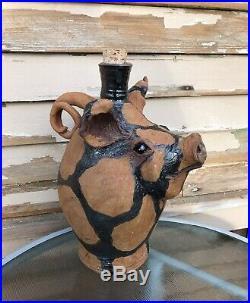 Large Vintage Folk Art Pig Face Jug, Redware, Stoneware