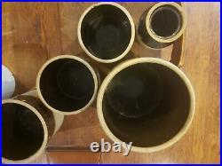 Lot of 7 Antique 6 3 2 1.5 Gallon Stoneware Brown & White/Cream Crock Pottery
